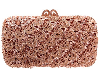 83229a8b5 Luxury crystal clutch Bag Bridal evening party Bling purse Rose Gold