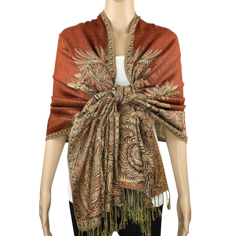 Silky Smooth Light Pashmina Shawl Paisley Two Tone Scarves Wraps New Fashion