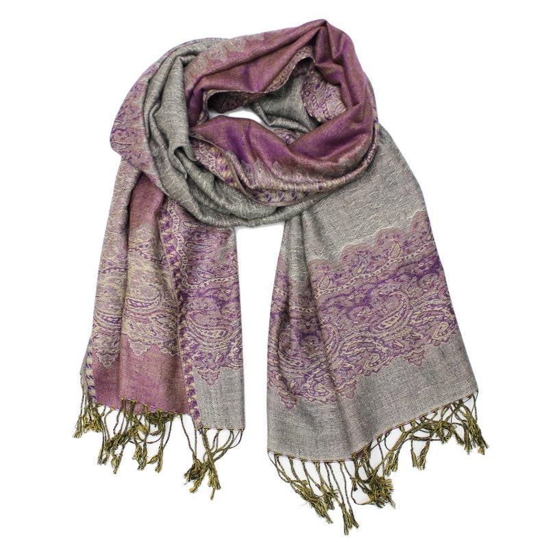 344161e15 Gray Purple Paisley Scarf Pashmina Shawl Elegant Fringed   Etsy