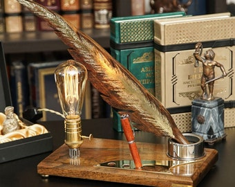 Exclusive lamp Pride&Joy decorative organizer accent lamp home decor gifts unique lights for home unusual gifts wood decor wooden feather