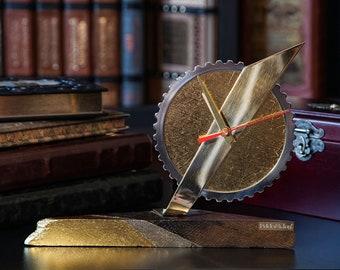 Exclusive table clock Pride&Joy bog oak car part decorative clock gift for him for men desk clock metal gifts craft unique wood home decor