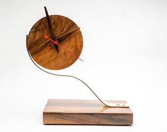 Wooden table clock Pride&Joy desk clock decorative wood clock gift for him gifts for men designer clock wood gifts crafts unique loft clock