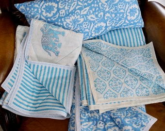 Sky Series: 3 models of plaid for crib or baby, 2 different sizes. Printed Indian cottons, fleece in inner cotton.