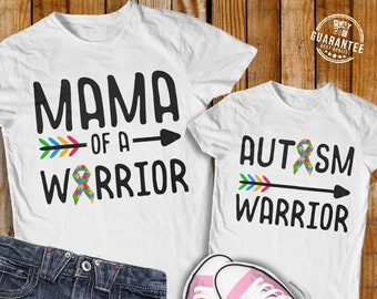 Autism Warrior Svg Mama Of A Warrior Svg Autism Quote Awareness Ribbon, Arrow Tribal Design Cut File Cricut Downloads Silhouette Dxf Png Jpg