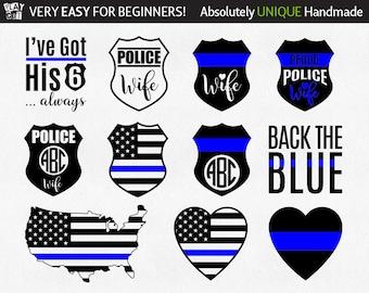 Police Wife Svg Thin Blue Line Svg Police badge svg Back the blue svg I've got his 6 Svg Dxf Eps Jpg Png Clipart Cricut Silhouette cut files