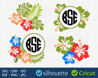 HIBISCUS Svg Hibiscus Monogram Svg Summer Initial Border Svg Tropical Flower Svg Aloha Svg Cricut cuttable Hibiscus Dxf Silhouette Cut Files
