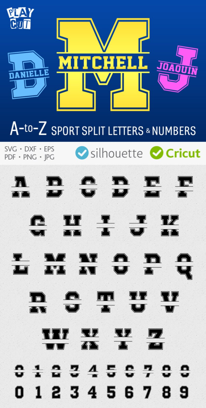 Split Letter Svg Sport Font Monogram Initials Jersey Etsy
