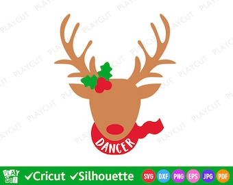 Dancer Reindeer Svg Christmas cut files for Cricut, Silhouette, Heat Press Transfer, Iron on download vinyl decal file Png Dxf Eps Pdf Jpg
