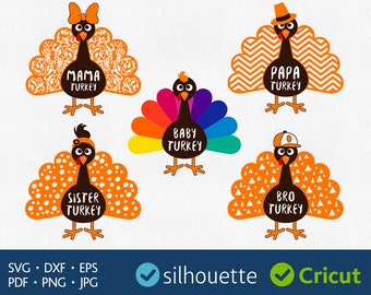 Turkey svg files download Thanksgiving clipart for Silhouette dxf eps pdf png cuttables Family Shirt designs Mama Brother Sister Papa Cricut