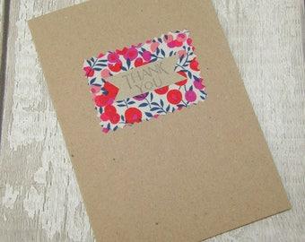 Liberty Print Fabric Thank You Card