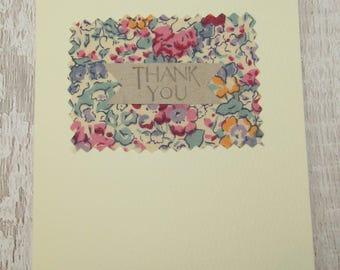 Liberty Print Fabric Thanks You Card
