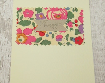 Liberty Print Fabric Just Married Card