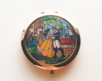 Beauty and the Beast Stained Glass Portrait Compact Mirror, Beauty and the Beast Inspired, Belle, BATB, Gifts for Her
