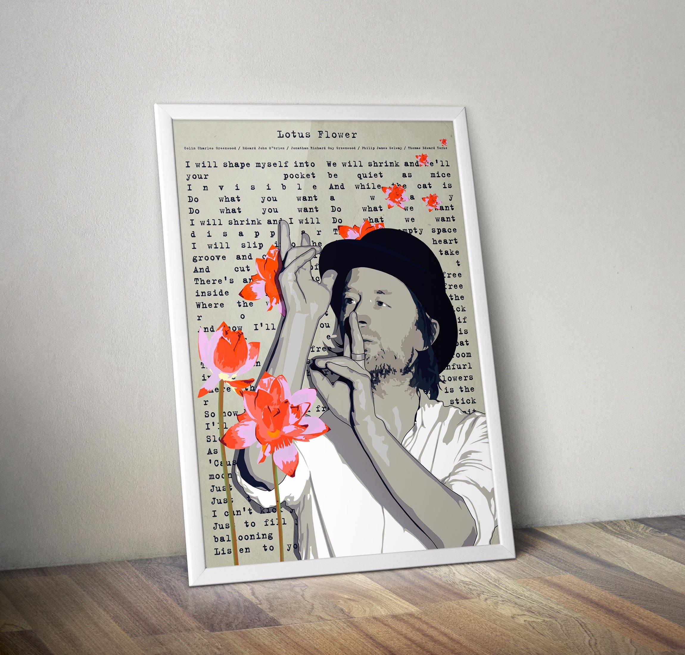 Thom yorke poster radiohead lotus flower jonny greenwood in etsy zoom izmirmasajfo