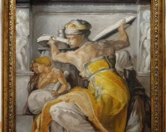 """After Michelangelo, """"Sibyla Libica"""" from the Sistine Chapel, Old master copy, oil on wood panel, 30x40cm (12x16''), UNFRAMED"""
