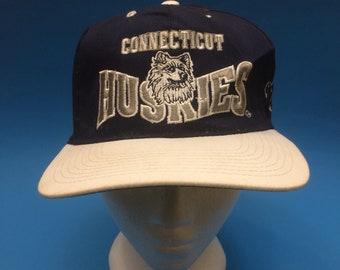 Vintage Connecticut Huskies SnapBack Hat G Cap Adjustable 1990s 911d99721d8a