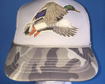 Vintage goose duck Trucker Snapback Hat Adjustable 1980s camouflage  outdoors hunting Beautiful 3bf2f98509bf