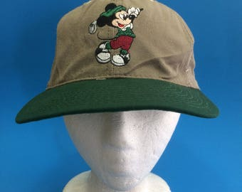 Vintage Mickey Mouse Golf Walt Disney World Leather Strapback Hat  adjustable 1990s 362bbe47fb3