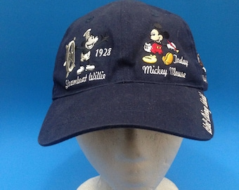 d1b88a9dbd3 Vintage Disney Mickey Mouse Strapback Hat all over logos 1990s