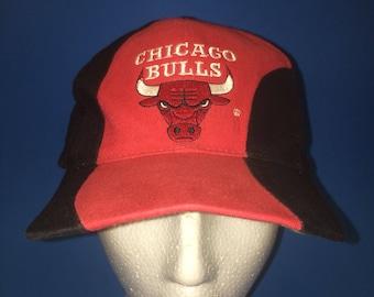 Vintage Chicago Bulls SnapBack Hat Adjustable 1990s Spell out Color block