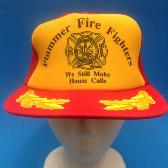 5ad62fb9f4b Vintage Plummer Fire Fighters SnapBack Trucker Hat Adjustable