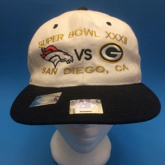 Vintage Super Bowl XXXII SnapBack Hat Denver Broncos VS Green  d0bd6830e