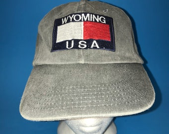 Vintage Wyoming USA strapback Hat Adjustable 1990s Tommy Hilfiger style logo