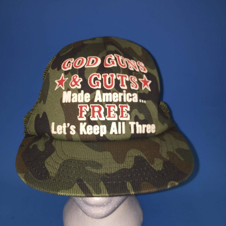 Vintage God Guns and Guts made America free lets keep all three Camouflage  1980s