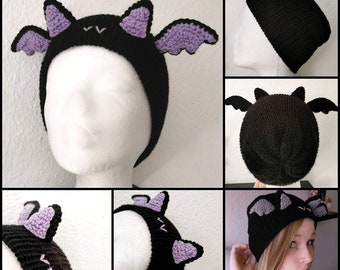 Bat hat pastel goth, gothic clothes, halloween costume, witchy outfit, cute winter hat, pastel goth earmuffs, spooky gift, horror beanie
