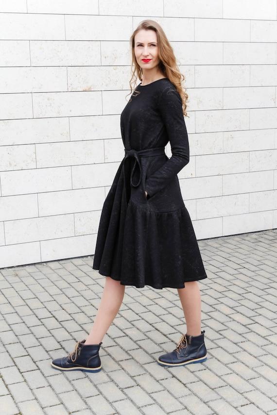 Wool sweater dress, Warm dress, Office dress, Winter midi dress, Long  sleeve dress, Plus size dress, Casual dress, Autumn dress, Boho dress
