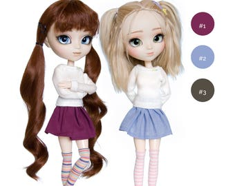 3 pieces set for Pullip, Pure Neemo, Azone, Blythe, Dal, Obitsu dolls (sweater, skirt and socks)