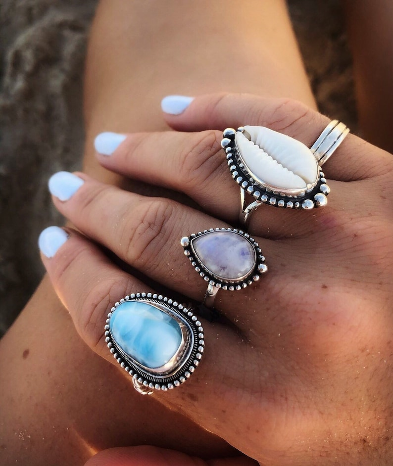 Rainbow Moonstone Labradorite Avalon Ring Sterling silver ring Crystal ring Boho Rings Gypsy Bohemian teardrop ring