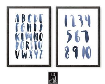Watercolor Alphabet and Numbers Printable Set, Wall Art Print ABC, Wall Decor, Kids Room Decor, Typography, Nursery Decor