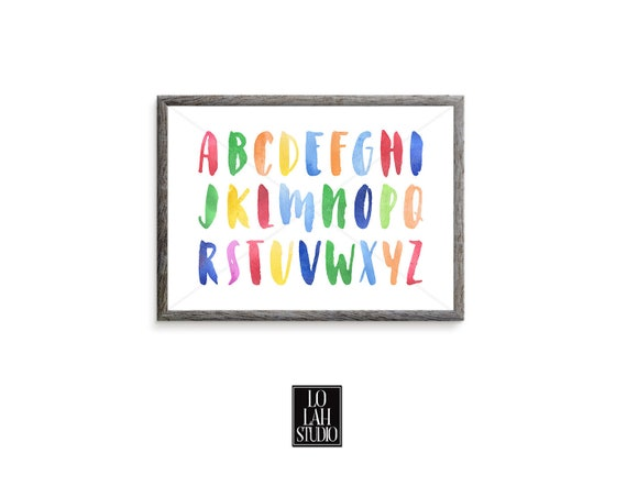 Watercolor Alphabet Printable Landscape Colorful Abc Wall Art Etsy