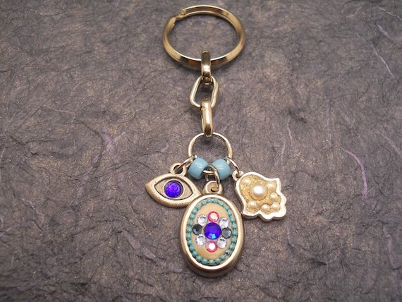 Protection Keychain Hamsa Key Chain Evil Eye Keychain Charm Etsy
