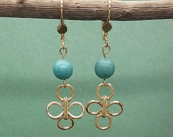 Turquoise Dangle Earrings, Gold Turquoise Dangle Earrings, Turquoise Gold Earring, Dangle Gold Earrings, Classic Earrings, Gold Plated