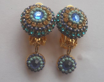 Round Multi Color Clip On Earring, Blue Crystal Earring, Vintage Dangle Clip on Earring, Non Pierced Blue Topaz Earring,  Boho Long Earring