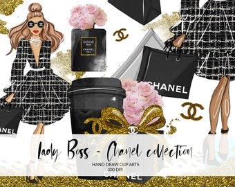 f63d17b9f0bd Chanel Fashion Clip Art, Planner, Hand Draw, Chanel, Fashion Illustration,  DIY, Lady Boss, Digital Instant Download PNG files