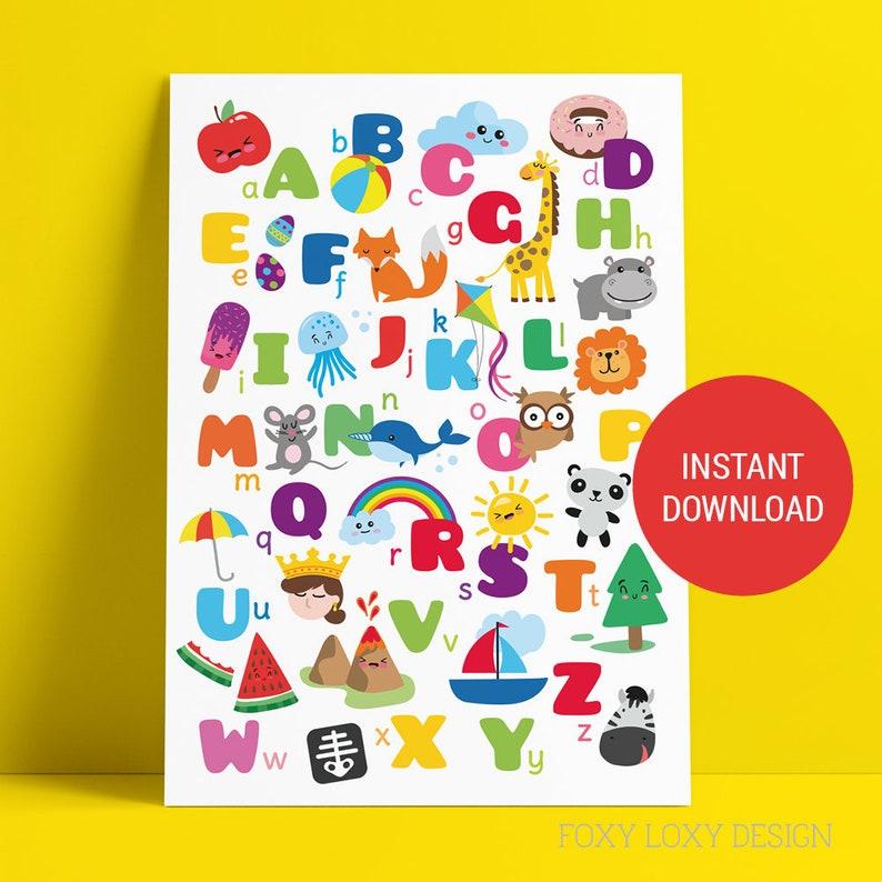 photograph regarding Printable Abc Chart titled Alphabet Chart, ABC Poster, Alphabet Poster PRINTABLE