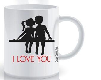 Couple Sitting I Love You Coffee Mug, Love Coffee Mug, Valentines, Cute Couple, Girlfriend Gift, Boyfriend Gift