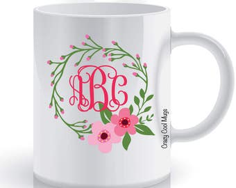 Floral Monogram Personalized Custom Coffee Mug