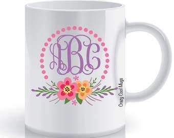 Floral Monogram 2 Personalized Custom Coffee Mug