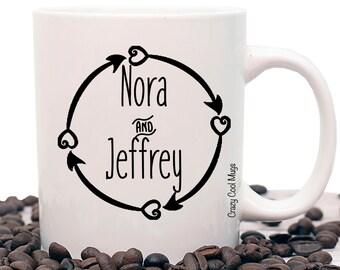 Circle Arrow Custom Personalized Couple Coffee Mug