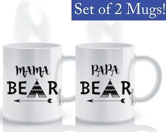 Mama Bear Papa Bear 2 - Mom & Dad Coffee Mug Set