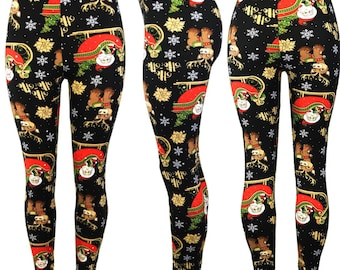 9bacd08a934f4 Christmas Ugly Leggings Super Soft Spandex , reindeer Leggings Women's  Clothing Women's Bottoms Super Sexy and Comfortable