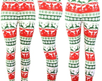 b68e84523bb673 Red Christmas Leggings Super Soft Spandex , Leggings Women's Clothing  Women's Bottoms Super Sexy and Comfortable Reindeer Leggings
