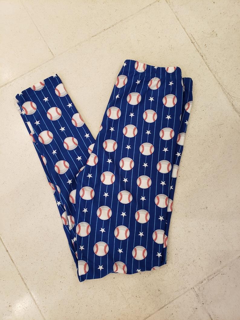 236e5e01e746b Baseball League Print Leggings/ Buttery Soft Ankle Leggings/   Etsy