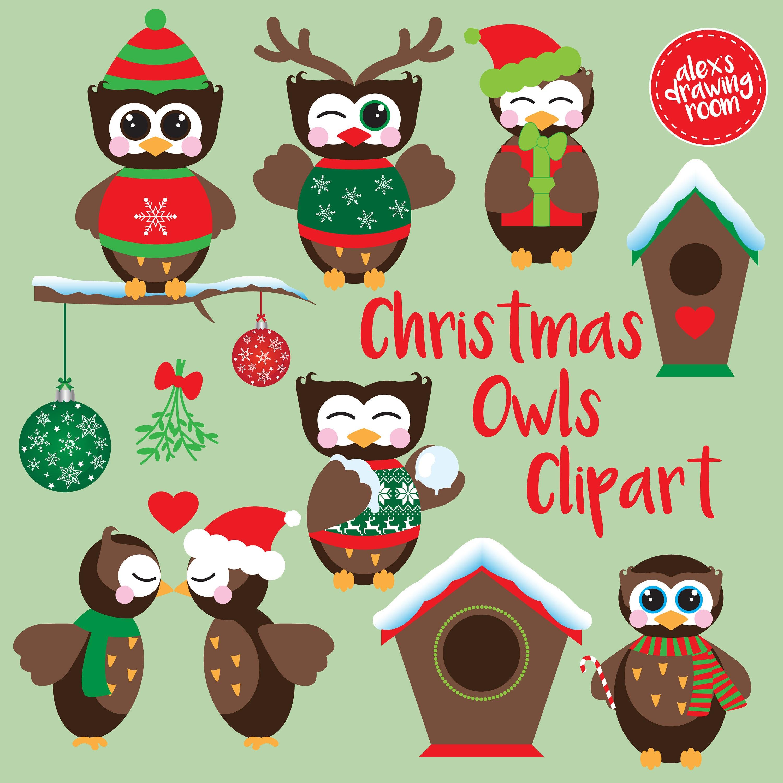 Weihnachten Eulen Cliparts digitale Weihnachts-Eulen Eule | Etsy