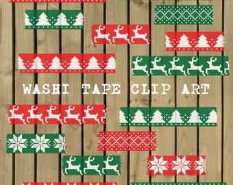 Digital Washi Tape, washi tape clipart, Christmas washi tape, washi tape scrapbook, fair isle washi tape, Christmas scrapbook, red, green
