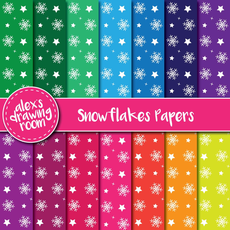 Schneeflocken digitales Papier Papier digitale Tapete | Etsy